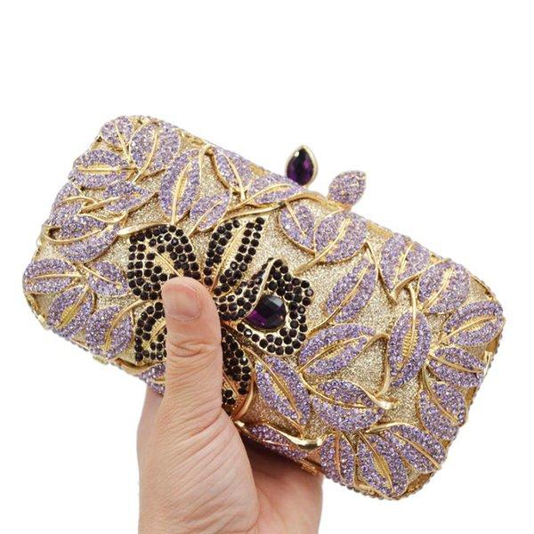 crystal purse purple flower evening bags wedding purse sm28 (542778829) photo
