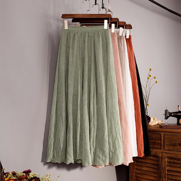 2017 Fashion Women Top quality Linen Cotton Long Skirt Elastic Waist A-line Pleated Maxi Beach Vintage Summer Skirts
