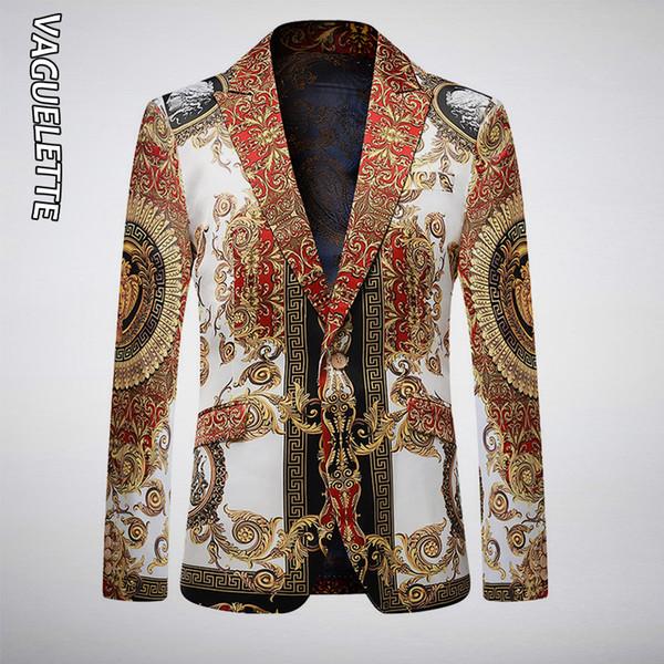 VAGUELETTE Luxury Golden&Black Stage Jacket For Men Floral Printed Blue Blazer For Men Slim Fit Party Wedding Jacket Coat T200324