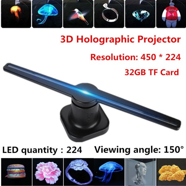 2019 trending 42cm led 3d holographic wifi controlled projector adverti ing di play 32gb hologram player lamp fan