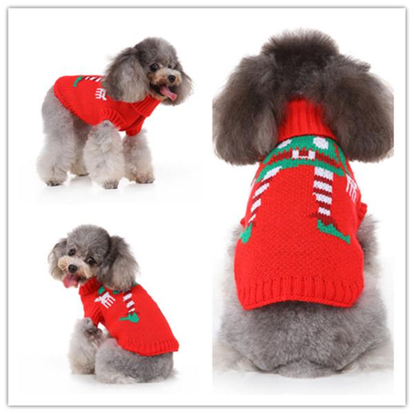 Классический красный шоу клоуна свитер на Рождество собаки прекрасные одежды собаки зимы Толстовка любимчика костюма рождества собаки свитер на зиму фото