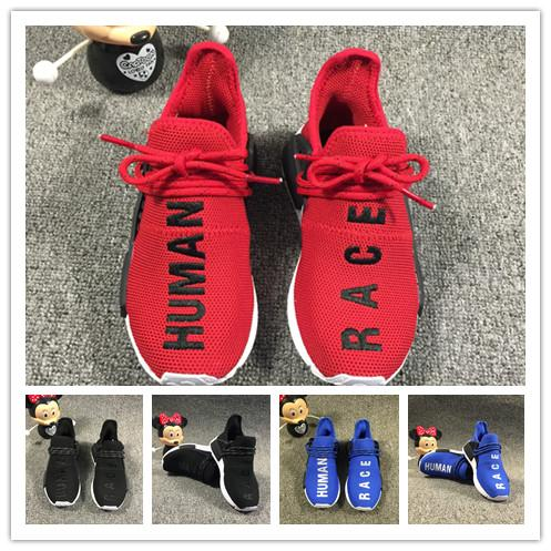 (box) Kids Sports Shoes for Kid Human Race Trainers Boys Pharrell Williams Pour Enfants Chaussures Children Sport Shoe Youth Sneakers
