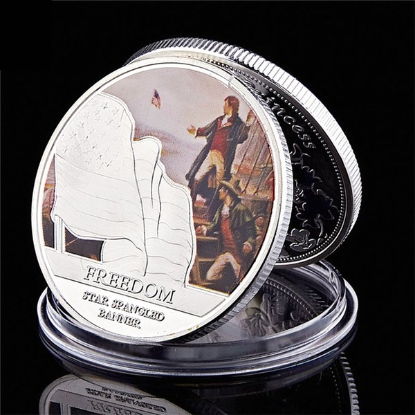 Silver eagle challenge coin usa statue of liberty strength bald eagle silver plated metal challenge coin collection фото