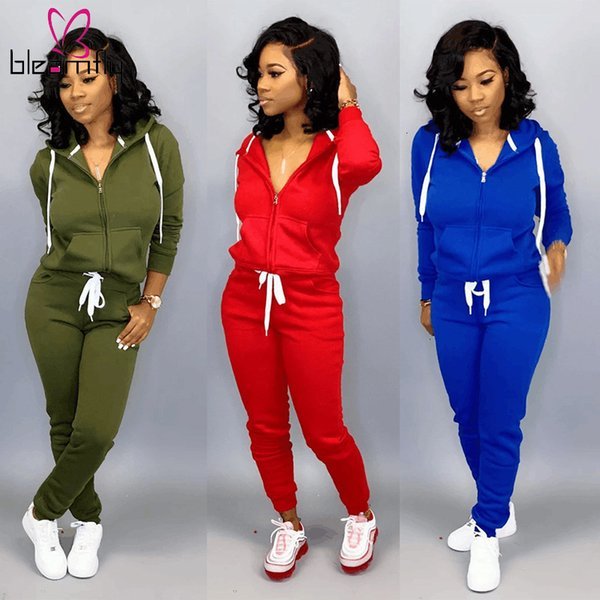 Casual Tracksuits Women Long Sleeve Zipper Hoodies Coats And Bodycon Pants Two Piece Matching Sets Autumn Sport Fitness Suits Y200110