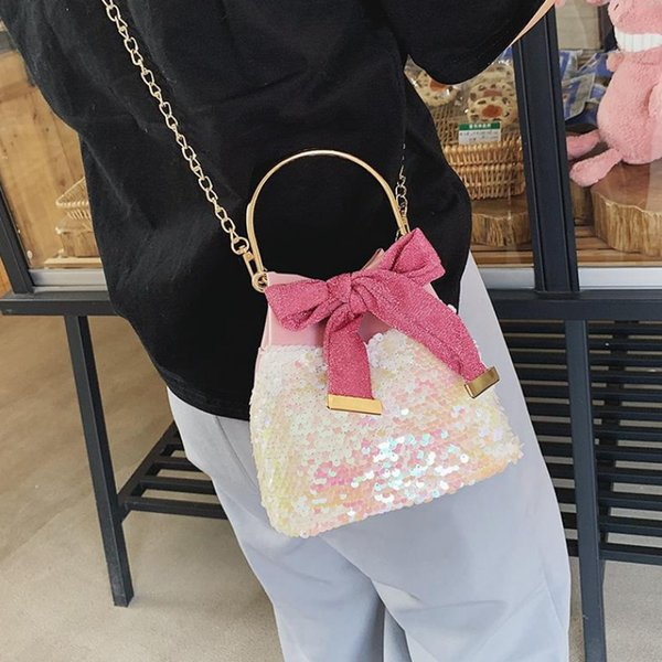 lovely crossbody bag party sequin butterfly-knot shoulder bucket bag women 2020 fashion quality purse chain female girl handbags (524649852) photo