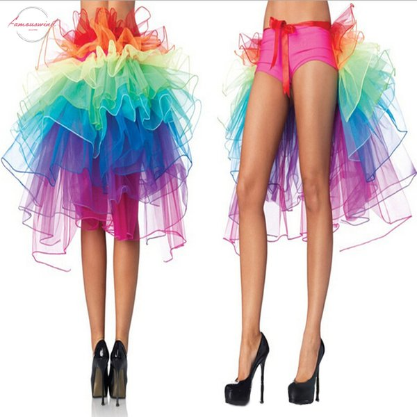 1 Pc Female Peacock Dance Skirt Rainbow Tail Bustle Skirt Colorful Rayon Women Skirts Summer Fluffy Rainbow Tutu Skirt