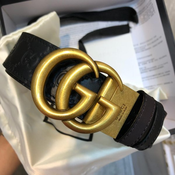 leather belt Hot sale 2019 Men fashion brand designers luxury genuine leather belt gold letter buckle waistband belts Free shipping