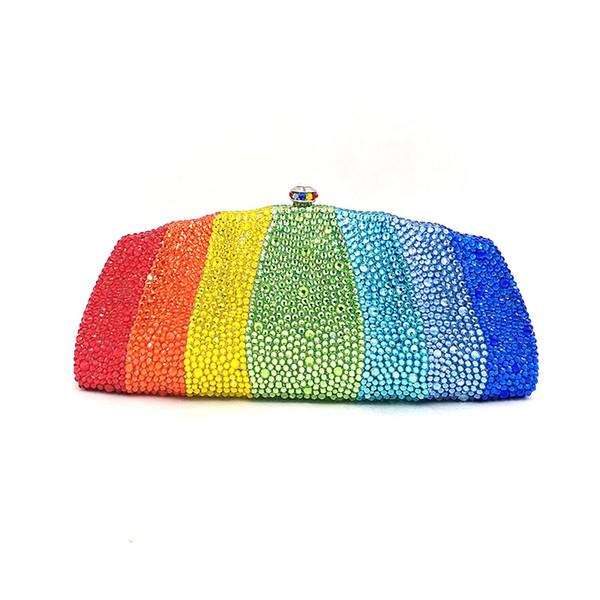 design bridal wedding party purses women evening party diamonds colorful rainbow full crystal clutches elegant purses (509240059) photo