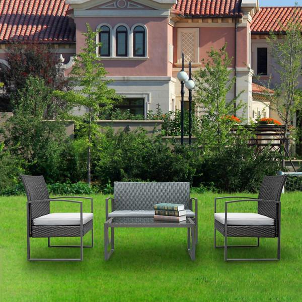 4pc  rattan  ofa  et wicker rattan golden morden lounge patio garden balcony pool  furniture pe rattan iron frame  table  turdy durable