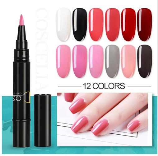 COSCELIA Newest 3 In 1 Gel Nail Varnish Pen Glitter One Step Gel Polish Hybrid 12 Colors Easy To Use UV Gel Lacquer