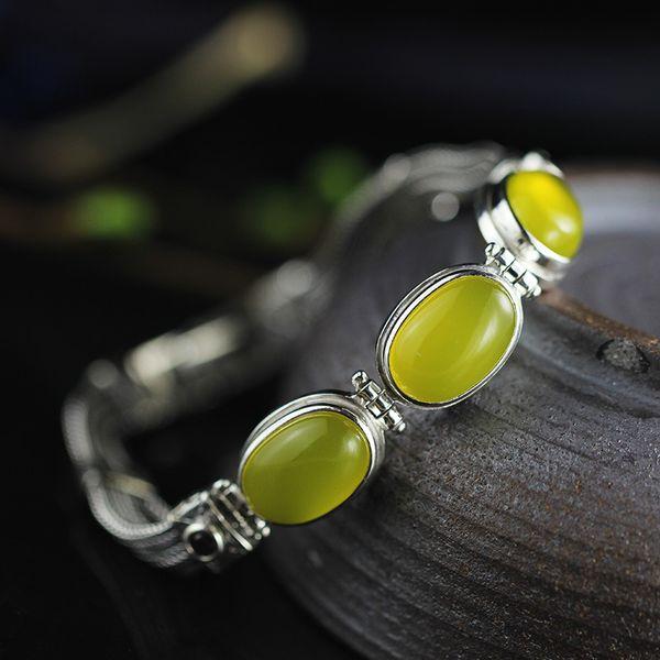 real_pure_925_sterling_silver_women_bracelets_bangle_with_natural_citrine_garnet_chalcedony_inspirational_bracelets
