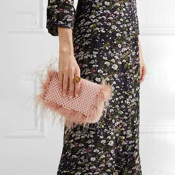 fashion faux fur pearl evening bag women clutch handmade beaded cover party purses ladies handbag female messenger shoulder bags (531920279) photo