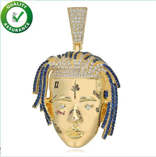 Обледенелые Цепи XXXTentacion Глава Кулон Хип-Хоп Ювелирные Изделия Дизайнер Ожерелье
