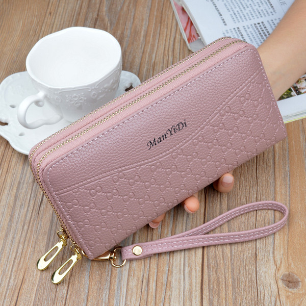 new pu leather women clutch wallets zipper large capacity hand strap female wallet luxurious business solid girl purses (478939933) photo