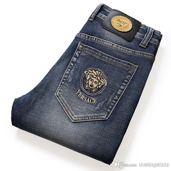 Qiu dong embroidery high-grade men's jeans casual stretch straight tube slim jeans men's foreign trade