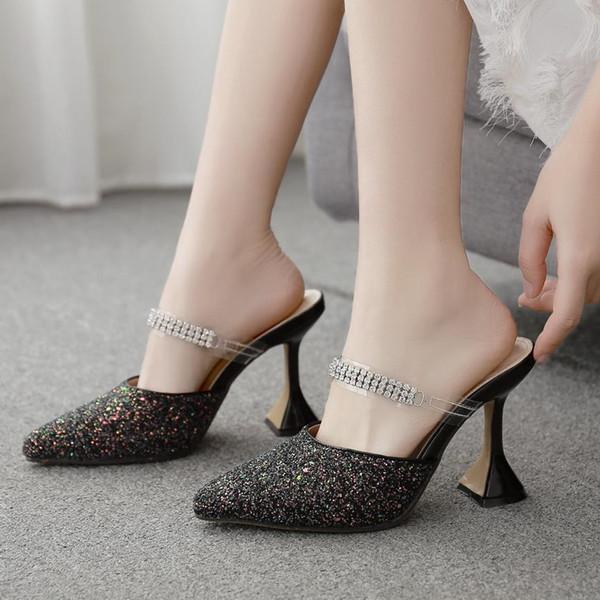 С размером коробки от 35 до 42 блестящие черные блестки золотник каблук мулы дизайнерские насосы мода роскошные дизайнерские женские туфли фото