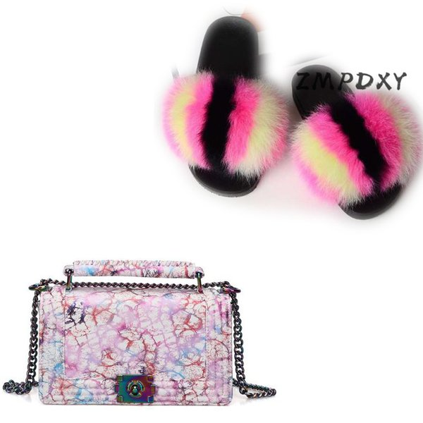 woman jelly shoulder bag shoes sets ladies real fur slippers womens raccoon fur slides chain candy crossbody purse flip flop (544233236) photo