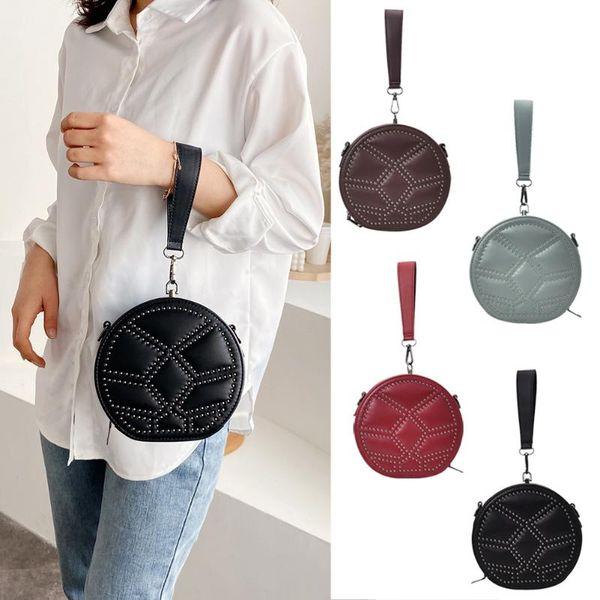 round fashion women shoulder crossbody bags rivet small purse classic durable messenger ladies circle handbag purse (534146585) photo