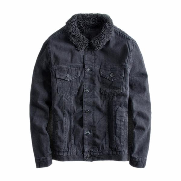 Японский Harajuku Vintage Sherpa Black Denim куртка для мужчин Мужской моды Шерпа Подкладка Black Jea фото