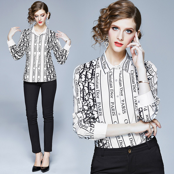 New 2020 Women Letter Shirt Button Front Cardigan Long Sleeve Spring Runway OL Ladie Printed Office Lapel Neck Long Sleeve Slim Blouse Tops