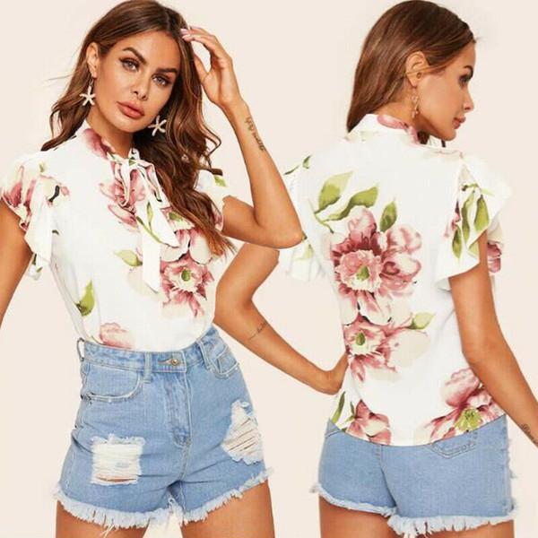 Женская шифоновая блузка с цветочным принтом и футболкой Женская рубашка Повседневная блузка фото