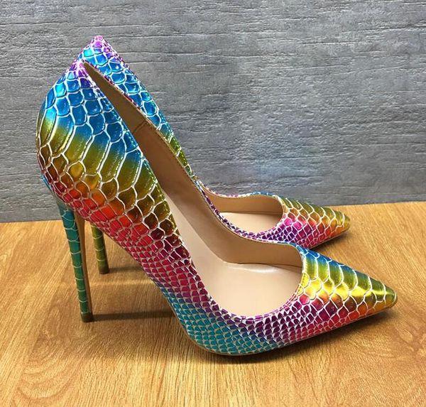 2019 бесплатная доставка мода женщины сексуальная Радуга змея питон кожа Poined пальцы на высоких каблуках туфли на шпильках туфли на каблуках насосы 12 см 10 см фото