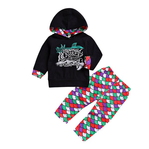new arrival fashion newborn infant kids baby girls clothes sets mermaid black hooded  pants outfits set clothes 0-4t hot