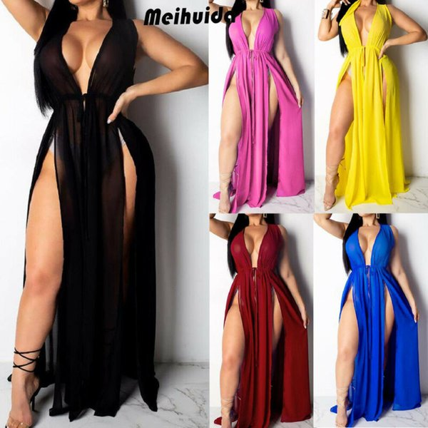 plus size s-2xl women casual sleeveless deep v neck solid color high waist lace up maxi dress bathing beach bikini cover up
