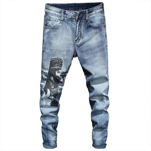 Мужские 2020 роскошные дизайнерские дизайнерские джинсы мужские узкие байкер рок возрождение приталенный высокой талией Джинсы дизель мужчин страх перед Богом джинсы фото
