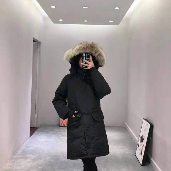 Femme Outdoors Mid Length Down Jacket Thick Warm Long Down Coat Thicken Fourrure Hooded Jacket Coats Women
