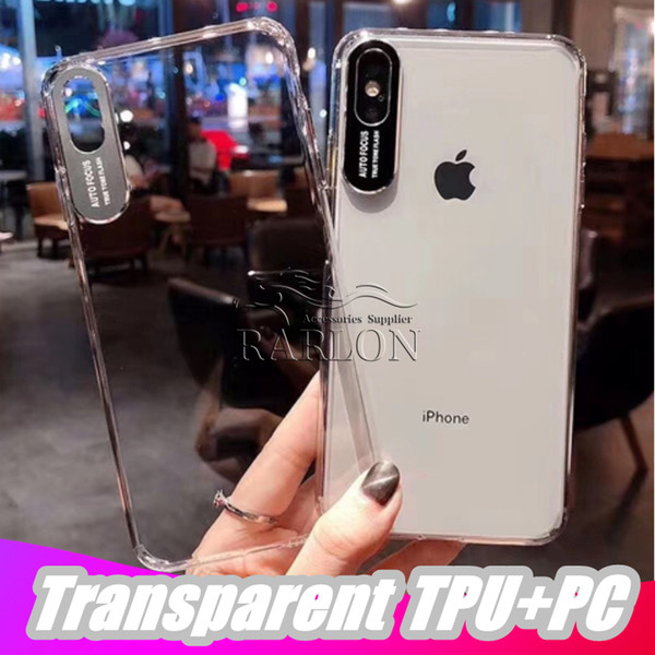 2019 new high tran parent tpu frame acrylic ca e for iphone xr x max 8 7 6 plu anti cratch cell phone cover with du tproof plug