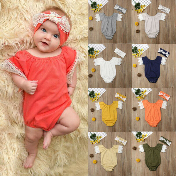 infant newborn baby girl romper+headband jumpsuit playsuit outfits set clothes