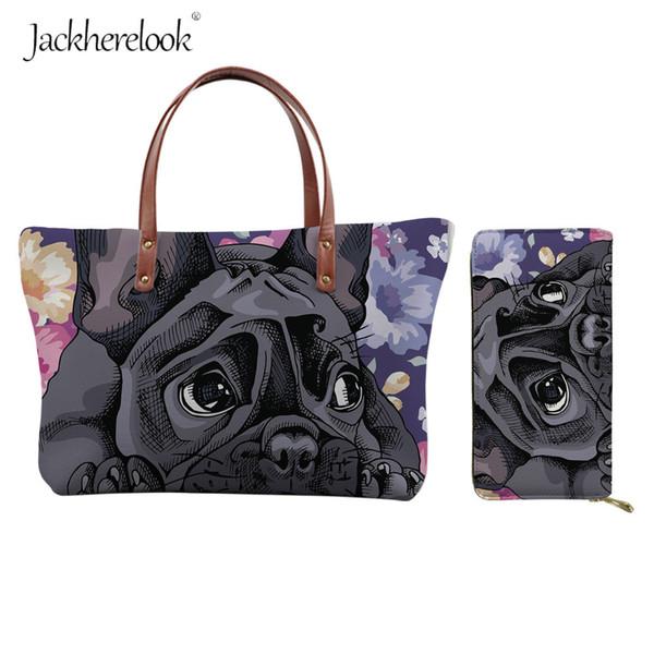 jackherelook 2pcs floral yorkie shoulder bag&wallet women's leather handbag&purse set french bulldog cartoon boston terrier bag (521551647) photo