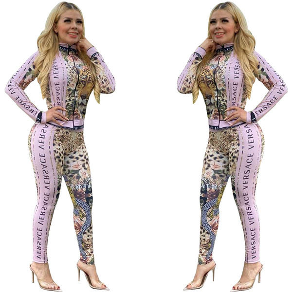 Free Ship New Women Fashion Leopard Print Sweatsuit Casual Slim Zip Neck Jacket and Pants Set 2Pcs Outfits XXL