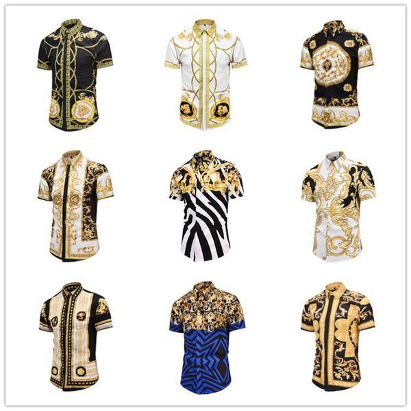 2019 new men 039 ca ual hirt medu a gold floral print men dre hirt pattern lim fit hirt men fa hion bu ine hirt clothing