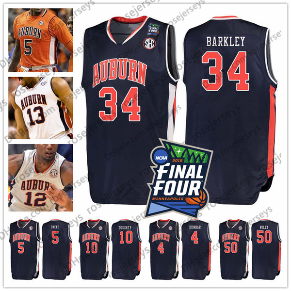 2019 final four auburn ba ketball 34 barkley 4 malik dunbar 3 danjel purifoy 10 amir doughty 50 au tin wiley charle ncaa jer ey 4xl