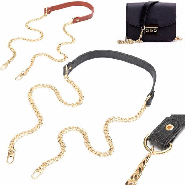 120cm chain bag straps replacement shoulder belts gold long leather purse strap handles for handbags belt bag parts black brown (436043741) photo