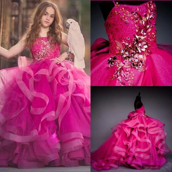 2020 Красивые бальное платье Фуксия девушки Pageant платья Маленькие младенца девушки фото