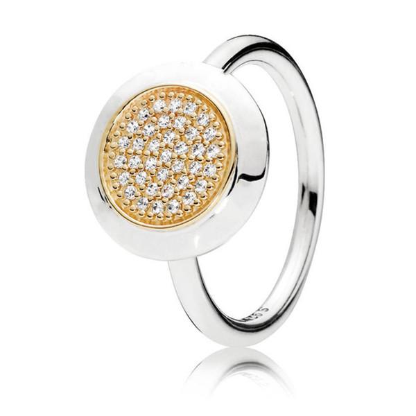 2018 Новый прибыл аутентичные стерлингового серебра 925 двухцветный подпись кольцо фото