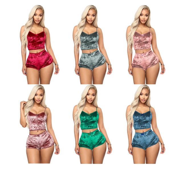 8 colors Women Sexy Velvet Pajama Sets Ladies Lace V-Neck Crop Tops Shorts 2Pcs Sleepwear Lingerie Pajamas Sets 0089