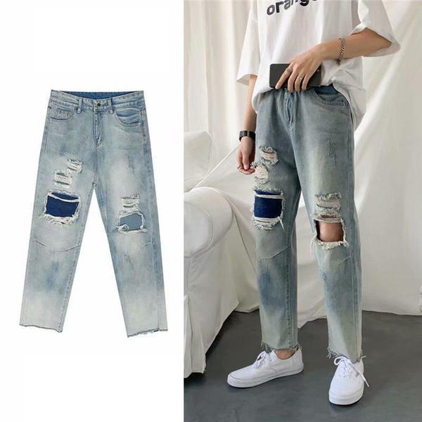 Summer Men's Pants Tide Hole Jeans Men Straight Straight Loose Korean Version Trend Hip-hop Handsome Nine-point Pants Cool Men