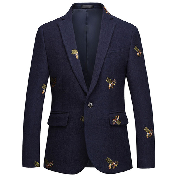Bee embroidery Blazer Slim Fit Masculino Abiti Uomo 2019 Wedding Prom Blazers Tweed Wool For Men Stylish Suit Jacket