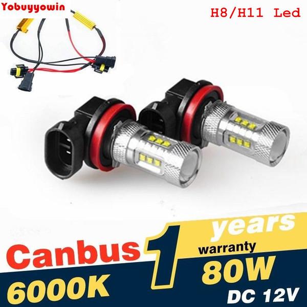 2pcs h8/h11 car led fog drl light high power 80w canbus error car lighting with h8/h11 auto led decoder load resistor (510358822) photo