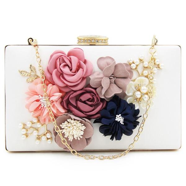 women clutch bag floral party purse wedding evening handbags, white (549972090) photo