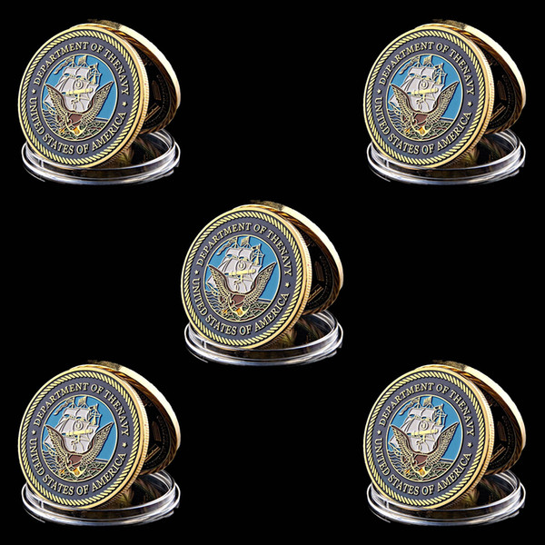 5pcs military challenge coin american department of navy army 1 oz gold plated coin metal crafts w/capsule фото