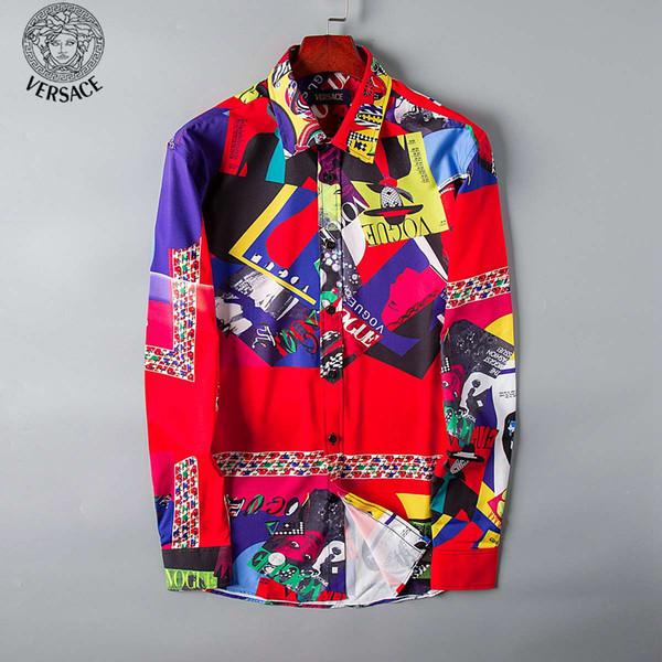 New men 039 hirtfa hion harajuku ca ual hirt men 039 luxury medu a black andgold fancy 3d printed lim hirt009