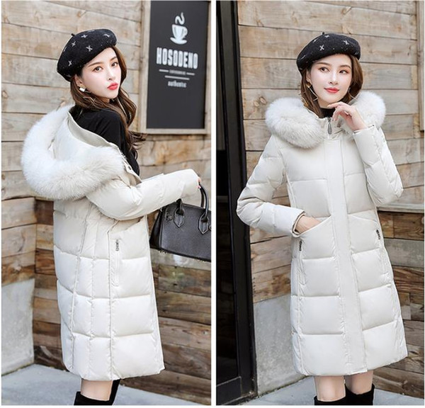 Women Winter Jacket Ladies Real Raccoon Fur Collar Duck Down Inside Warm Coat Femme With All The Tag Hooded Winter Warm Coat