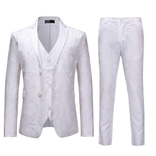 2pcs Mens Floral Party Tuxedo Suit (Jacket+Pants) White Single Breasted Suits With Pants Men Wedding Prom Suit Men Costume Homme