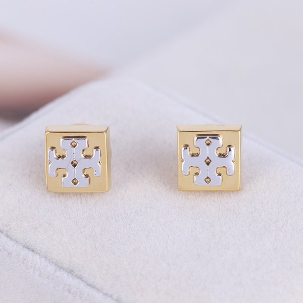 Высочайшее качество латуни простой серьги в золотом и серебряном стиле женщины с