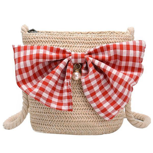 new cute bowknot straw small money bag coin purses women mini shoulder bag children crossbody girl beach kids gifts (502013545) photo